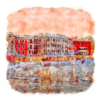 Liguria italia schizzo ad acquerello illustrazione disegnata a mano