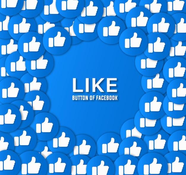 Pulsante mi piace di facebook e design di sfondo vettoriale