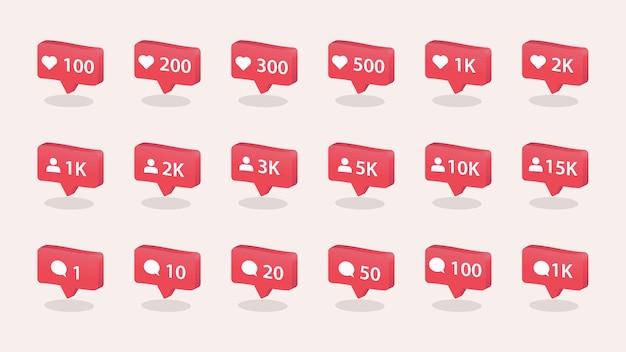Come le icone di commento e follower impostano il concetto di social media per l'interfaccia