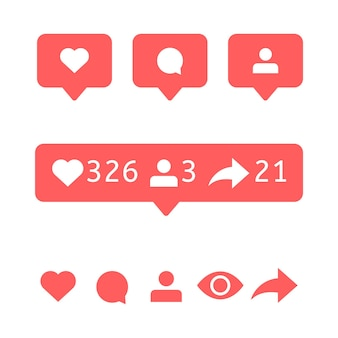 Mi piace, icona commento. bolle di visualizzazione utente, follower e segno di ripubblicazione. icone dei social media. notifica vettoriale. messaggio vocale della bolla. avviso interfaccia piatta per app per telefoni cellulari.