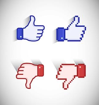 Mi piace e non mi piace nella vista pixelata blu e rossa e nell'icona della vista vettoriale pollice su e pollice giù