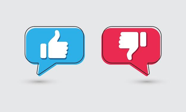 Piacere e dispiacere. pollice in alto e pollice in giù icone.
