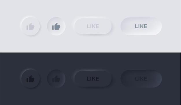 Come l'icona nei pulsanti neumorphism o il simbolo del pollice in alto in cerchio con il design dell'interfaccia utente neumorfica
