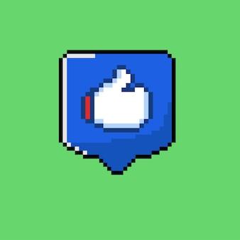 Icona mi piace con stile pixel art