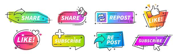 Metti mi piace e condividi banner. pulsanti di condivisione e ripubblicazione sui social media per vlog, blog e canali video. il marketing vector smm consiglia icone di otturazioni di stile per otturazioni sociali Vettore Premium