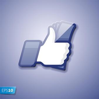 Simbolo mi piace icona thumbs up con illustrazione vettoriale di contanti