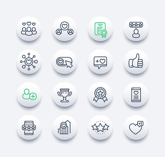 Mi piace, follower, set di icone della linea di valutazione e feedback