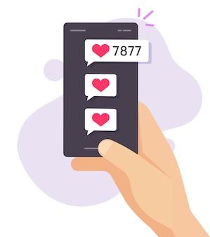 Ama le notifiche di avviso sullo schermo dello smartphone del telefono cellulare in mano di persona