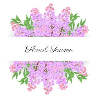 Cornice floreale bouquet di fiori lilla