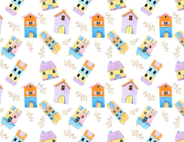 Lilltle cute house e red flower seamless pattern in acquerello.