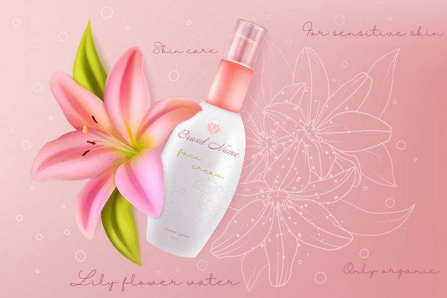 Lily cosmetici per il viso per l'illustrazione di bellezza della pelle sensibile del viso. crema per la cura della pelle del viso con ingrediente di bellissimi fiori di giglio rosa in confezione realistica, sfondo cosmetologico sanitario