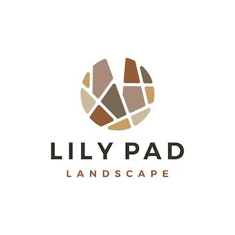 Modello di logo paesaggistico del paesaggio di pietra di lily pad