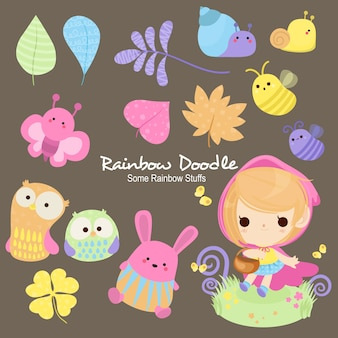 Doodle di lily rainbow objects