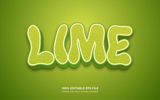 Effetto stile testo modificabile lime 3d
