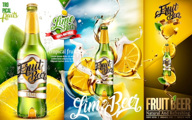 Annunci di birra al lime, birra alla frutta premium con lime a fette e schizzi di birra