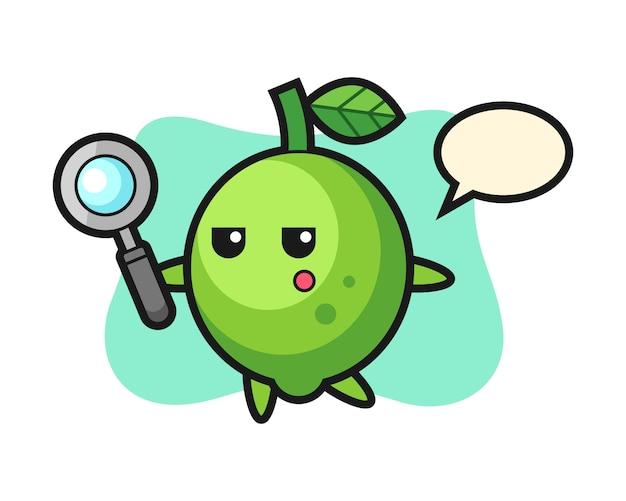 Personaggio dei cartoni animati di lime alla ricerca con una lente di ingrandimento, stile carino, adesivo, elemento del logo