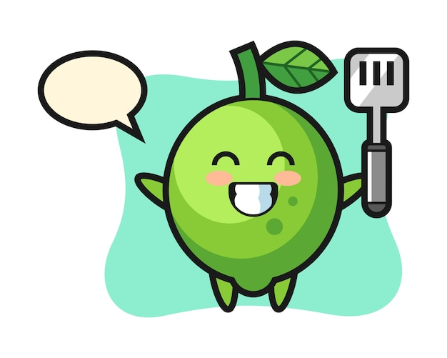 L'illustrazione del personaggio di lime come chef sta cucinando, stile carino, adesivo, elemento del logo