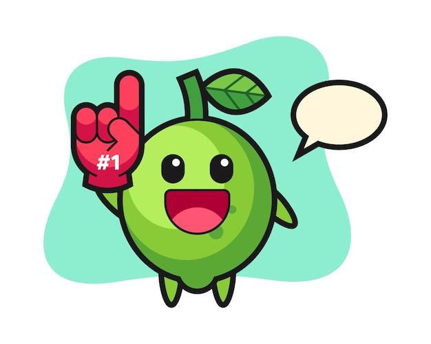 Fumetto di illustrazione di lime con guanto di fan numero 1, stile carino, adesivo, elemento logo