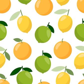 Lime orange lemon pattern Vettore Premium
