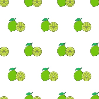 Fetta di lime seamless su uno sfondo bianco. illustrazione vettoriale di tema lime