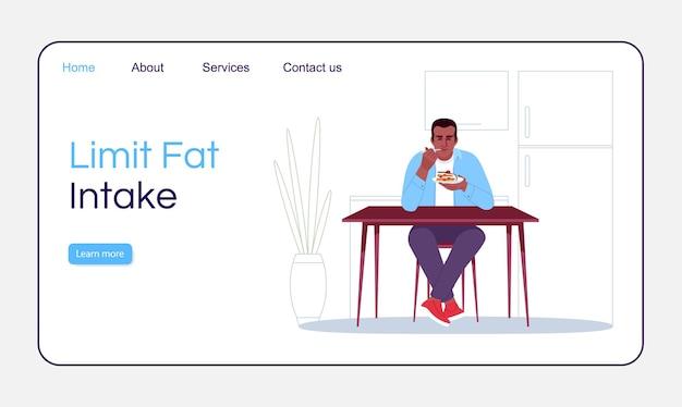 Limita il modello di vettore della pagina di destinazione dell'assunzione di grassi. idea dell'interfaccia del sito web di nutrizione sana con illustrazioni piatte. layout della home page. suggerimenti per la prevenzione dell'obesità banner web del fumetto, pagina web