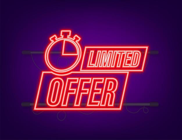 Offerta limitata, ottimo design per qualsiasi scopo. icona al neon. miglior prodotto. illustrazione di riserva di vettore.