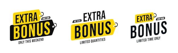 Set di badge adesivi bonus extra per quantità e tempo limitati