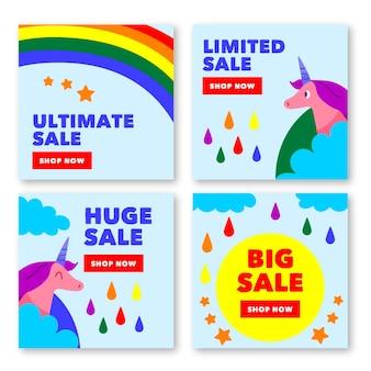 Collezione di post instagram vendita limitata Vettore Premium