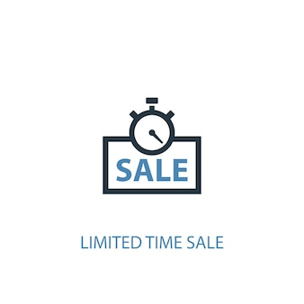 Concetto di vendita a tempo limitato 2 icona colorata. illustrazione semplice dell'elemento blu. disegno di simbolo di concetto di vendita a tempo limitato. può essere utilizzato per ui/ux mobile e web
