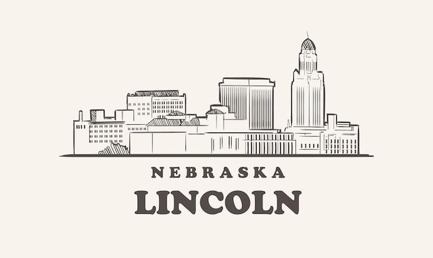 Schizzo disegnato di lincoln skyline nebraska
