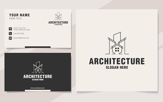 Modello di logo di architettura di linea sullo stile del monogramma