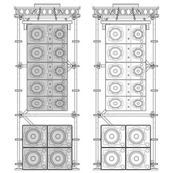 Illustrazione della sospensione dell'impalcatura di acustica di concerto di line array