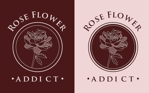 Linea arte estetica rosa fiore logo