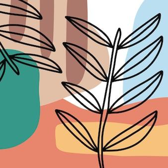 Linea arte colori attraenti disegno con forma floreale. arte della parete minimal e naturale.