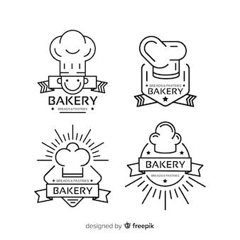 Modello di logo di linea arte panetteria