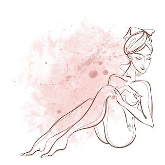 Linea artistica. una bella ragazza è disegnata con una linea. su uno sfondo ad acquerello. fitness. vettore