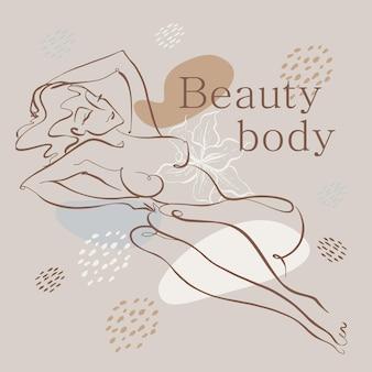 Linea artistica. corpo di bellezza. la ragazza nuda è disegnata con una linea. logo di cosmetologia. salone di bellezza. vettore