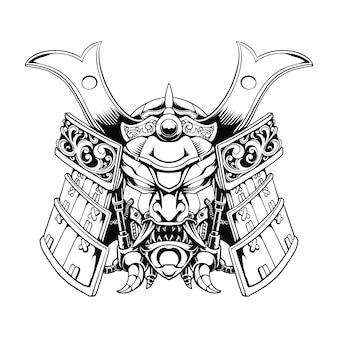 Line art in bianco e nero mecha samurai illustrazione grafica vettoriale