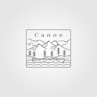 Line art canoe landscape logo design