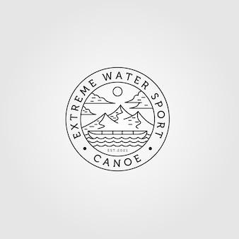 Line art canoa logo avventura all'aria aperta