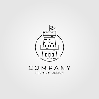 Line art castello logo minimalista