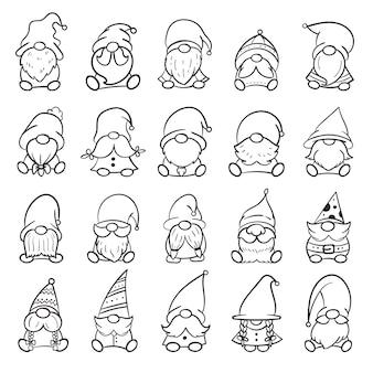 Line art natale gnomi design per libro da colorare isolato su sfondo bianco