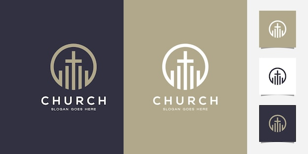 Line art chiesa/design del logo cristiano