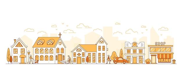 Linea arte paesaggio urbano strada cittadina con case chiesa e negozio