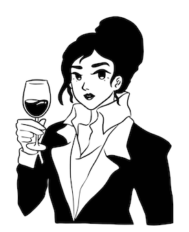 Line art elegante elegante bella donna bere vino in tuta