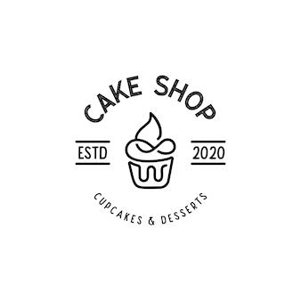 Linea arte cupcake panetteria logo template vettoriale