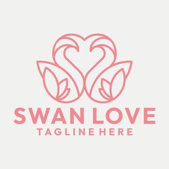 Line art incontri swan e cuore logo vector