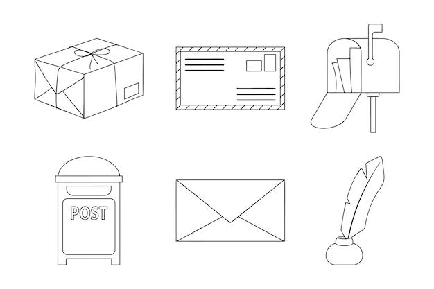 Collezione di elementi di disegno di linea art post. imposta sei elementi