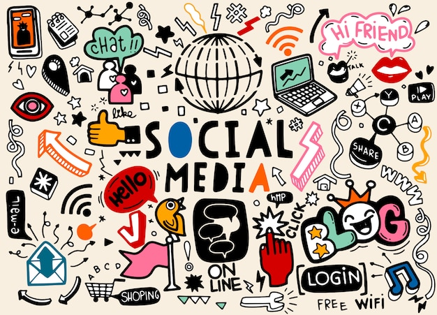 Linea arte insieme del fumetto di doodle di oggetti e simboli dei social media