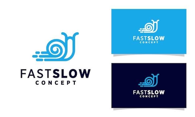 Linea arte modello di logo di lumaca veloce, design di logo di lumaca animale